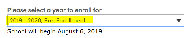Change drop down from Current year to 2019-2020 Pre-Enrollment